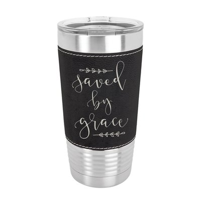 Saved By Grace 20oz Leather Tumbler
