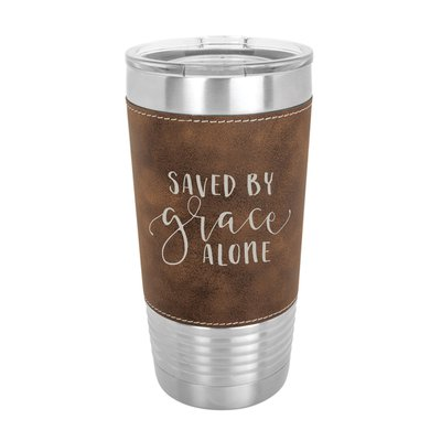 Saved By Grace Alone 20oz Leather Tumbler