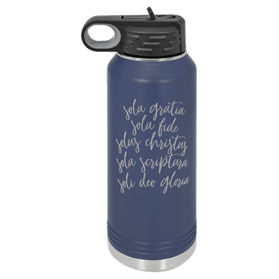 The Five Solas Script 32oz Insulated Water Bottle