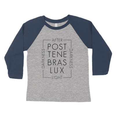 Post Tenabras Lux Script Youth Raglan Tee