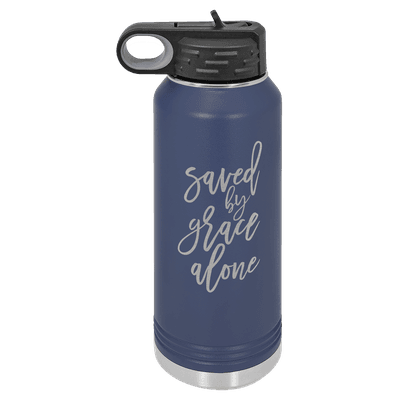 Saved By Grace Alone Script 32oz Insulated Water Bottle