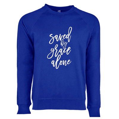 Saved By Grace Alone Script Ladies French Terry Crew