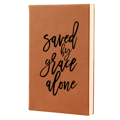 Saved By Grace Alone Script Leatherette Hardcover Journal