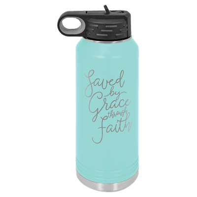 Saved By Grace Through Faith Script 32oz Insulated Water Bottle
