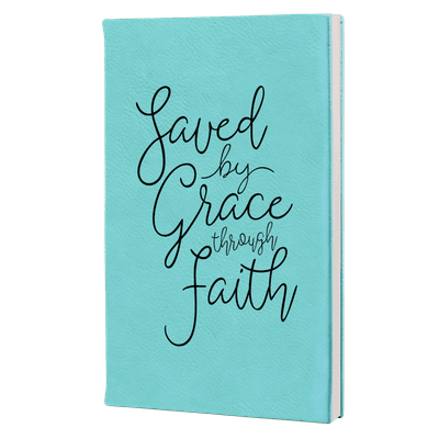 Saved By Grace Through Faith Script Leatherette Hardcover Journal