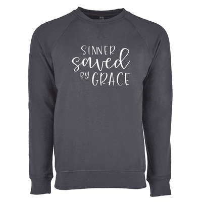 Sinner Saved By Grace Ladies French Terry Crew