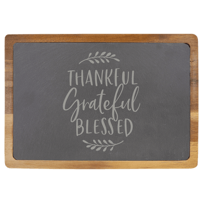 Thankful Grateful Blessed Slate Cutting Board