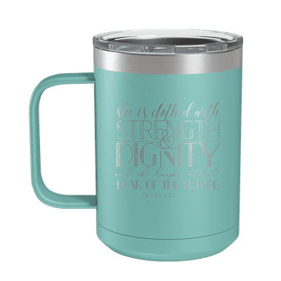 She Is Clothed (Lettered) 15oz Insulated Camp Mug