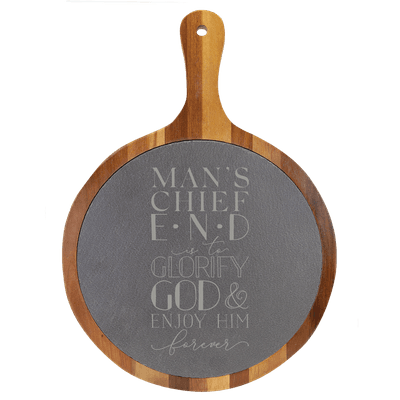 Mans Chief End Round Slate Cutting Board