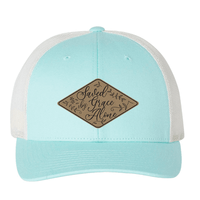Saved By Grace Alone Floral (Patch) Trucker Hat
