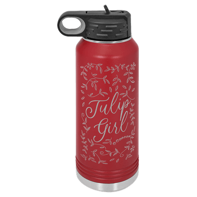 Tulip Girl Floral 32oz Insulated Water Bottle