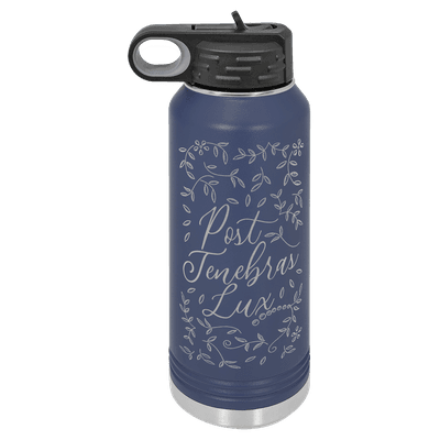 Post Tenebras Lux Floral 32oz Insulated Water Bottle