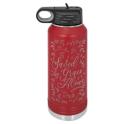 Saved By Grace Alone Floral 32oz Insulated Water Bottle