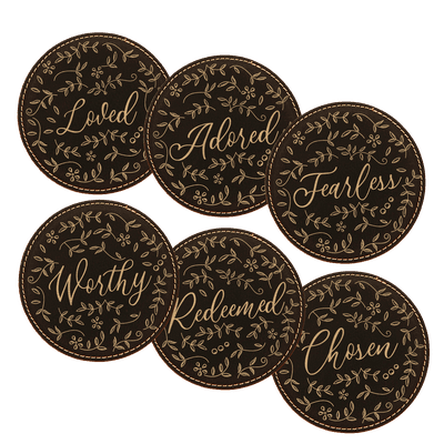 Floral Words Coaster Set of 6