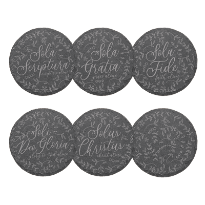 Five Solas Floral Slate Coaster Set of 6