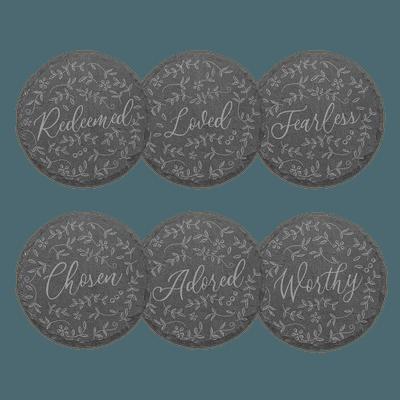 Floral Words Slate Coaster Set of 6