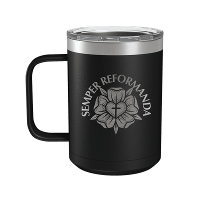 Semper Reformanda Lutheran Rose 15oz Insulated Camp Mug