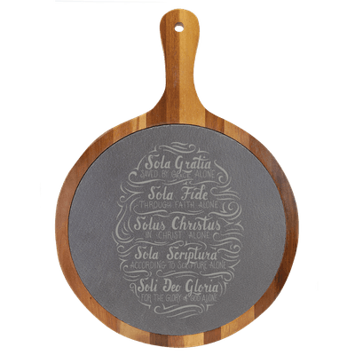 Five Solas Hand Lettered Round Slate Cutting Board