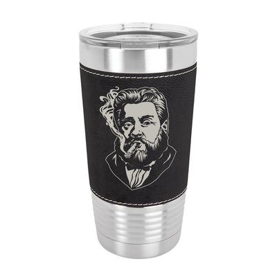 Charles Spurgeon Smoking a Cigar 20oz Leather Tumbler