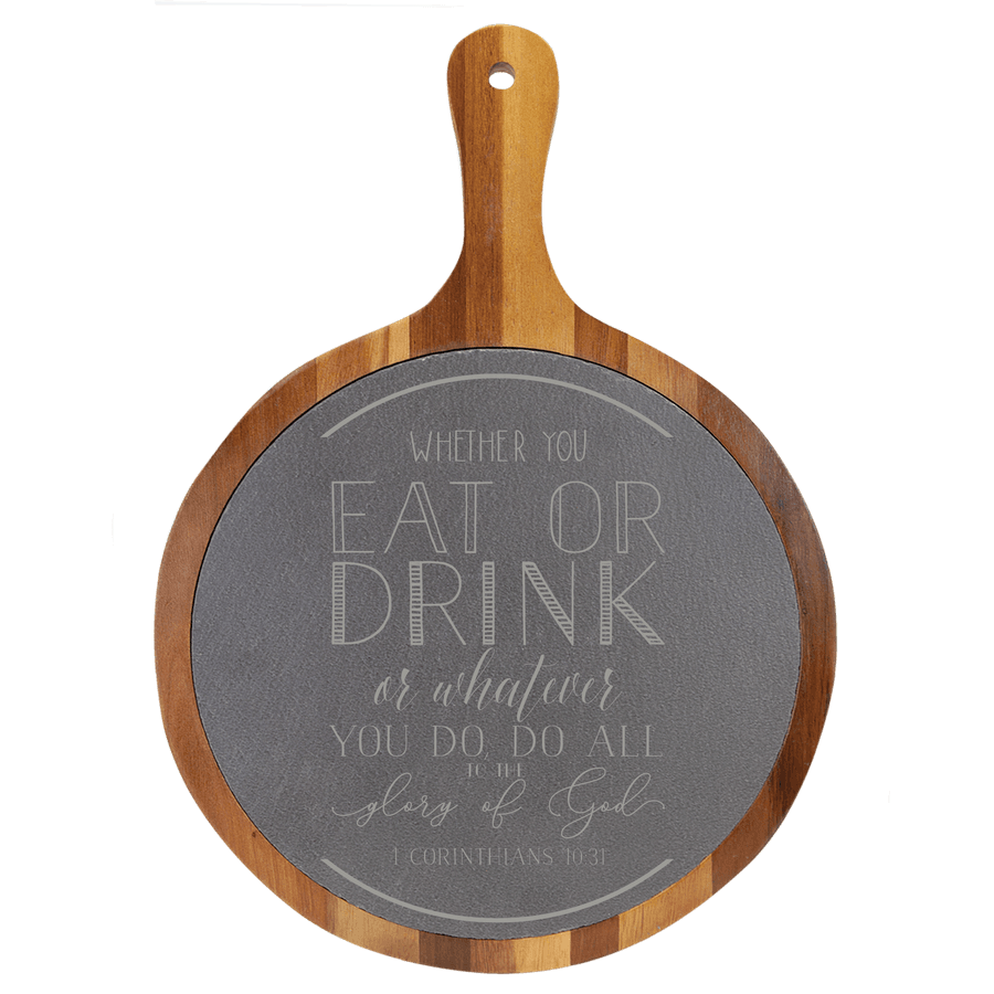 Eat Or Drink Round Slate Cutting Board