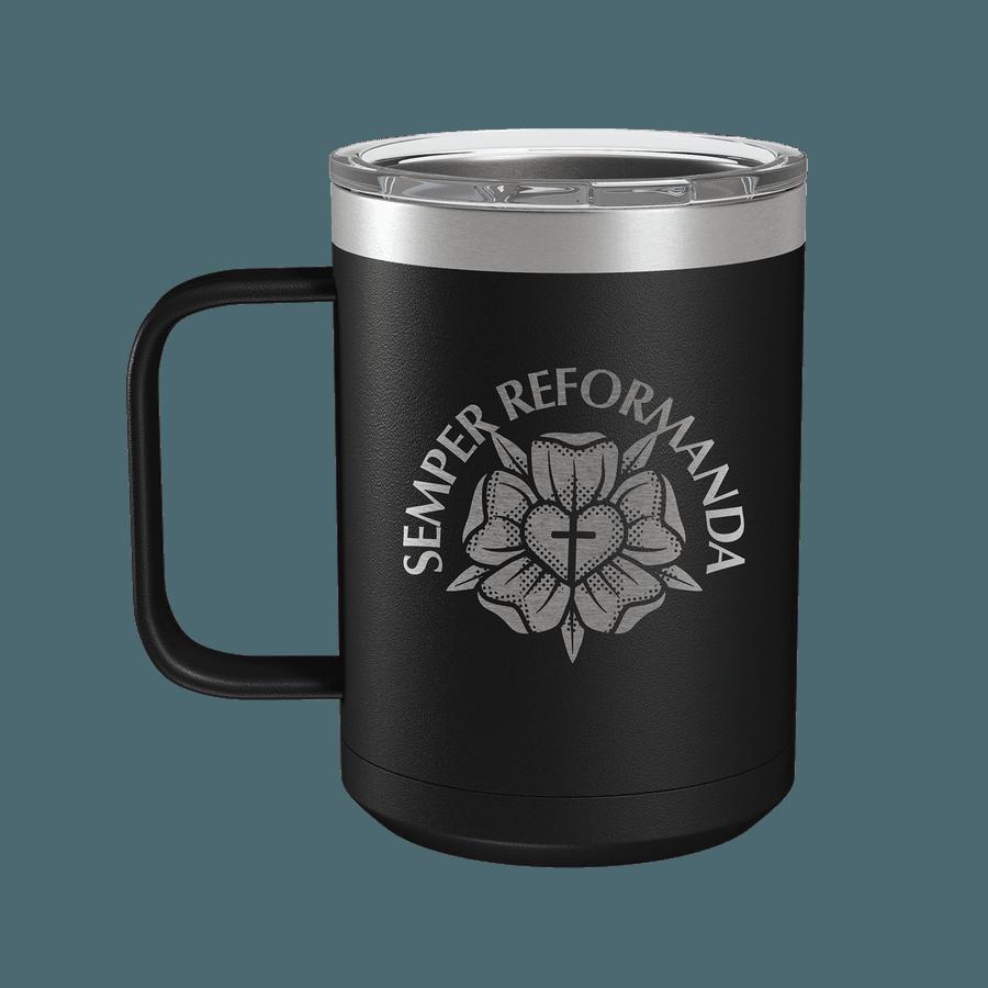 Semper Reformanda Lutheran Rose 15oz Insulated Camp Mug