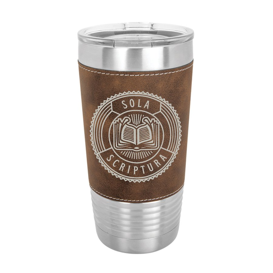 Sola Scriptura Badge 20oz Leather Tumbler