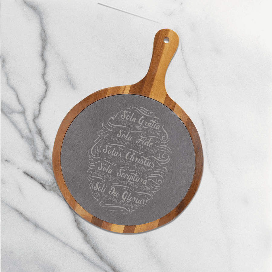 Saved By Grace Alone Round Slate Cutting Board #3
