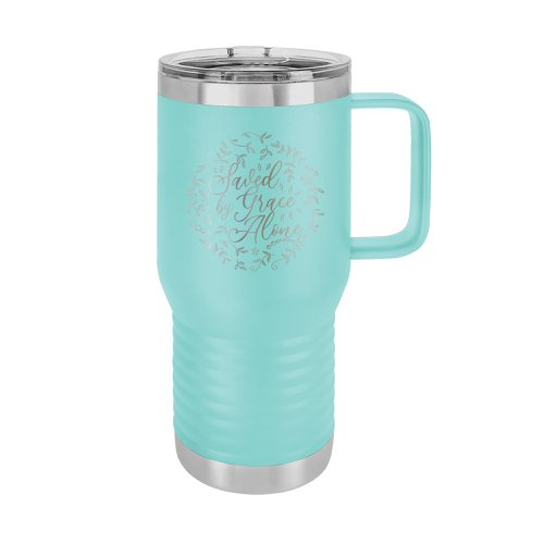 Saved By Grace Alone Floral 20 Ounce Travel Tumbler